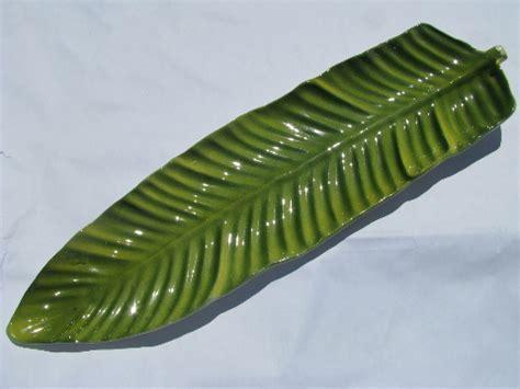 Tropical vintage tiki, long palm leaf ceramic platter