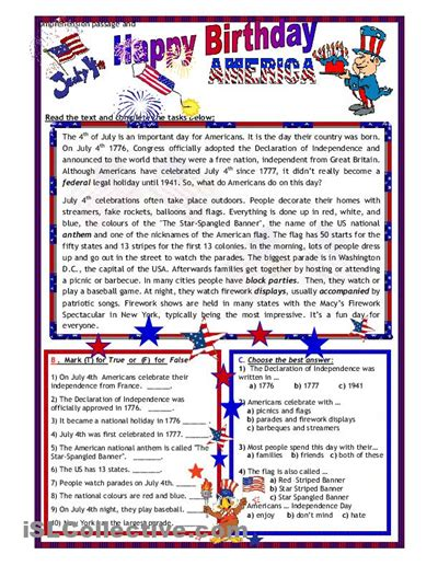 4th of july worksheets for middle school printable teacher