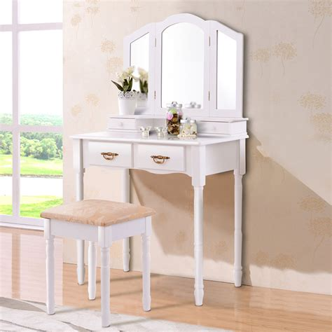 Vanity And Stool Sets by Costway White Tri Folding Mirror Vanity Makeup Table Stool
