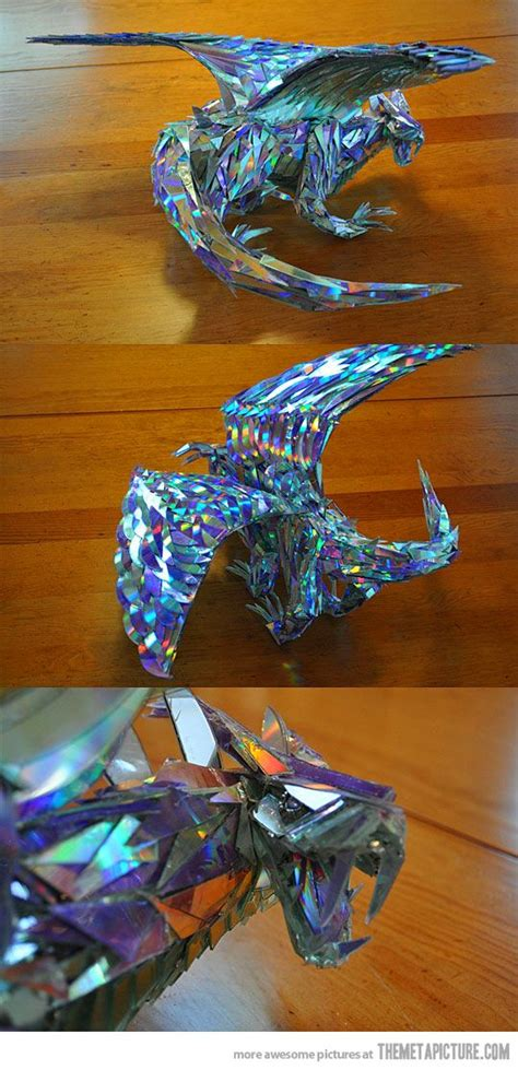 Stunning Sculptures Made From Discarded Cd Fragments by A Sculpture Made Out Of Cd Shards