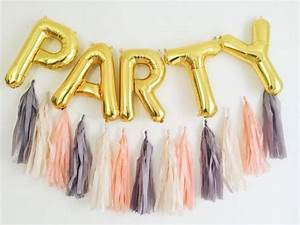 Party letter balloons full tassel garland gold or silver for Letter balloons atlanta