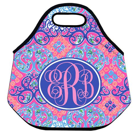 lilly pulitzer monogram initial lunch tote luncbox thermal