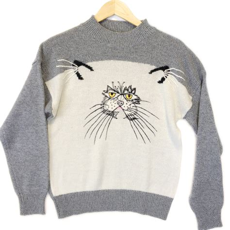 igly sweater grumpy cat vintage 80s acrylic sweater the