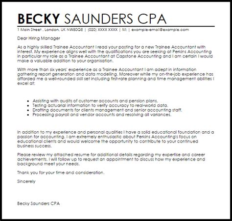 Cover Letter For Audit Trainee by Trainee Accountant Cover Letter Sle Cover Letter