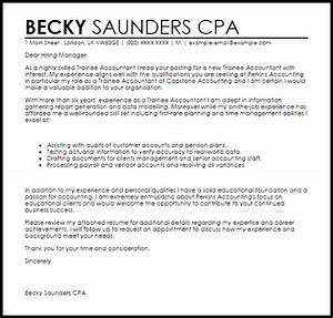 trainee accountant cover letter sample livecareer With cover letter for trainee accountant position