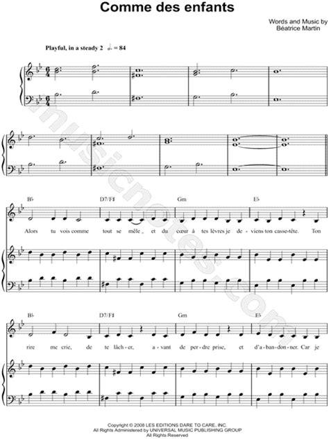 cœur de pirate quot comme des enfants quot sheet music in bb major transposable download print