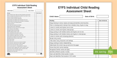 * New * Eyfs Individual Child Reading Assessment Sheet Eyfs