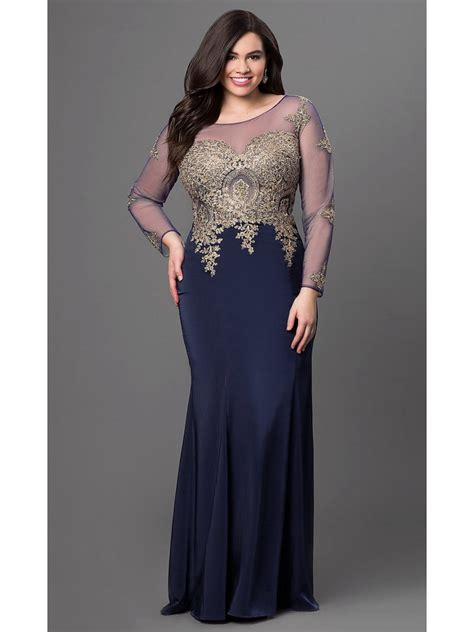 long navy mermaid long sleeves gold lace long  size