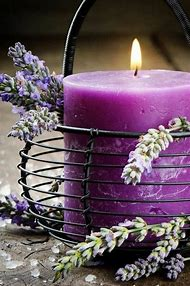 Lavender Flowers and Candle