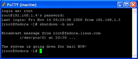 shoza acogedora personales shutdown linux command