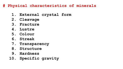 10 physical characteristics properties of minerals