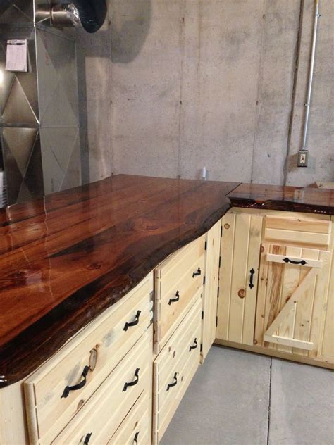 Best Wood For Cupboards by Live Edge Pine Slab Counter Tops Log Cabin Ideas In 2019