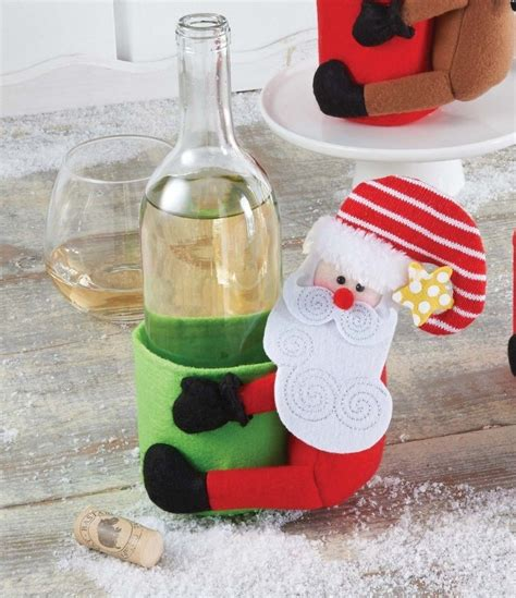 mud pie  christmas santa  kitchen wine bottle decor