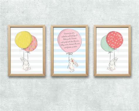 Kinderzimmer Deko Hase by Bild Set Hase Ballon Spruch Kunstdruck A4 Kinderzimmer