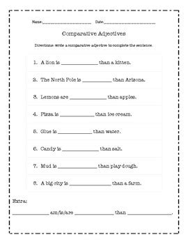 comparative adjectives worksheet by jaheni marquez tpt