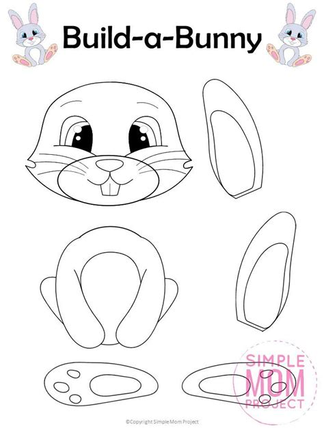 printable build  easter bunny craft  kids simple mom project   easter bunny