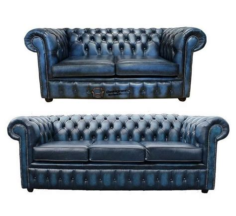 Ebay Settees Leather by Chesterfield 3 2 Seater Antique Blue Leather Sofa Settee
