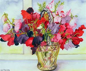 Sweet Peas In A Vase Painting by Joan Thewsey