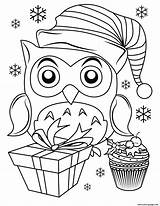 Coloring Christmas Owl Pages Printable sketch template