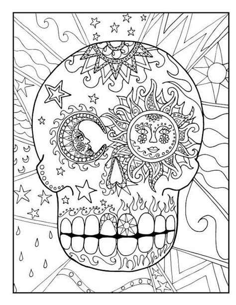 sugar candy skull coloring pages  kids  adults