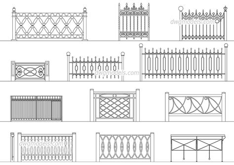 wrought iron railings  dwg  cad blocks