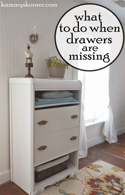 Temporary Drawers by Kammy S Korner The Waterfall Dresser Woes Before After