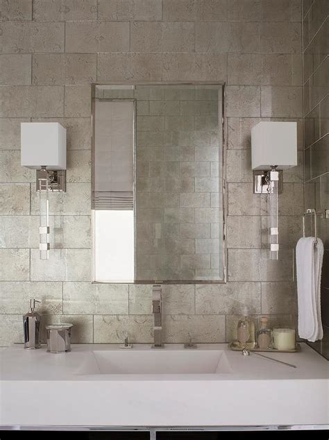 Metallic Bathroom Tiles white and gray bathroom with gray metallic tiles