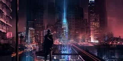 Futuristic Cyberpunk Cyber Night Skyline Cityscape Wallpapers