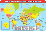 WORLD MAP Educational PLACEMAT Countries Continents Oceans ...