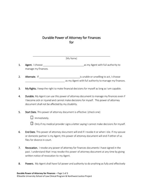 free washington power of attorney forms pdf word eforms free fillable forms