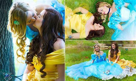 fairytale romance lesbian couple  dressed    favorite disney princesses  pose