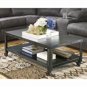 ashley hattney metal rectangular coffee table in gray t560 1 With gray metal coffee table