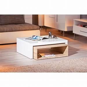 Table Basse Blanc Bois : table basse gigogne rectangulaire bois et blanc laqu achat vente table basse table basse ~ Teatrodelosmanantiales.com Idées de Décoration