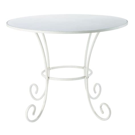 table ronde en fer forge table de jardin ronde en m 233 tal et fer forg 233 ivoire d100 st germain maisons du monde