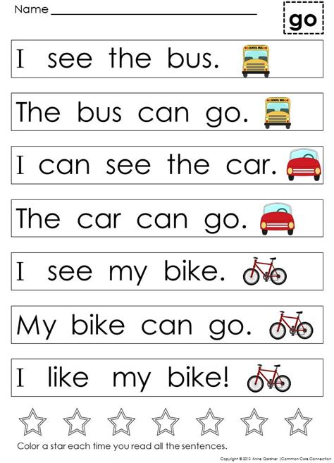 kindergarten sight word sentences for guided reading