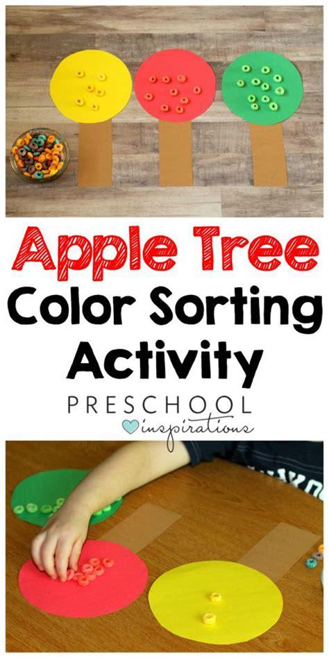 color sorting preschool apple activity preschool 460 | Apple Tree Color Sorting fine motor practice