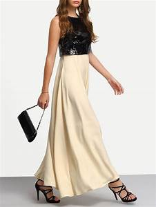 robe longue a sequins sans manche noir beige colors With robe manche