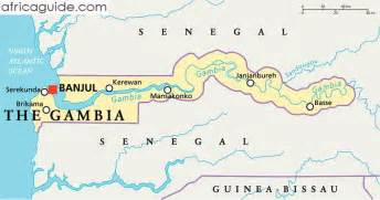 The Gambia map with capital Banjul
