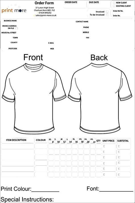 blank clothing order form template order form template