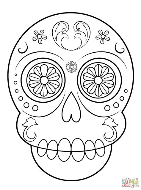 Simple Sugar Skull Coloring Page Free Printable Coloring
