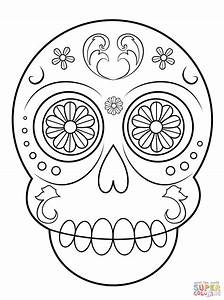 Simple Sugar Skull coloring page | Free Printable Coloring ...