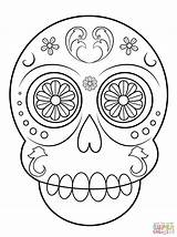 Coloring Skull Sugar Pages Simple Printable Paper Crafts Drawing sketch template