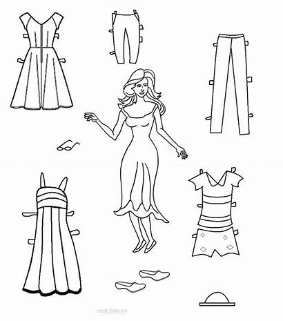 Paper Doll Coloring Dolls Printable Template Pages