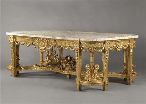 mesa comedor madera tallada dorada  tapa marmol mueble