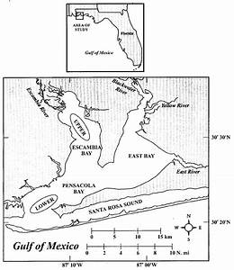 Map Of The Pensacola Bay System In Northwestern Florida