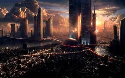 Futuristic Cityscape Concept Digital Skyline Fantasy Metropolis