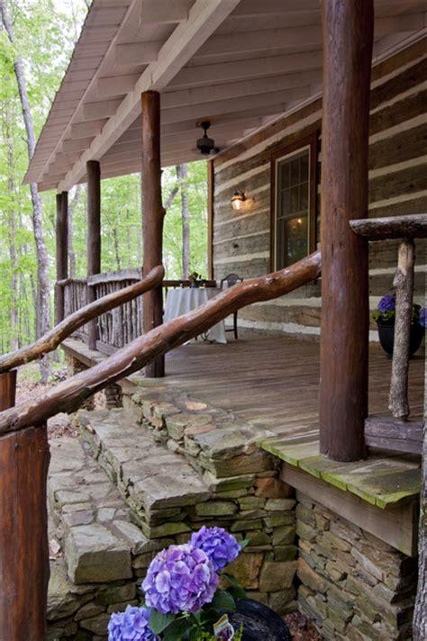 rustic porch talking rock log cabin rustic porch atlanta by clark zook architects llc