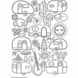 Campers Happy Coloring Pages Retro Camper Camping Adult Rv Colouring Thaneeya Mcardle Adults Books Printable Trailer Sheets Doityourselfrv Patterns Drawing sketch template