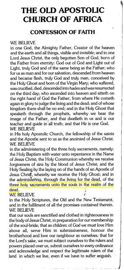 Old Apostolic Church revealed: Doctrine - Confession of Faith