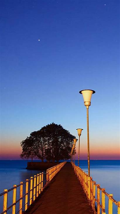 Sunset Dock Android Wood Lights Street Wallpapers